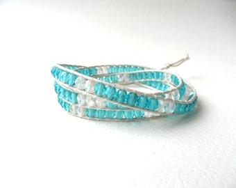 Wrap bracelet, leather wrap bracelet, mint wrap bracelet, mint and crystal wrap bracelet, boho wrap bracelet, life tree wrap bracelet