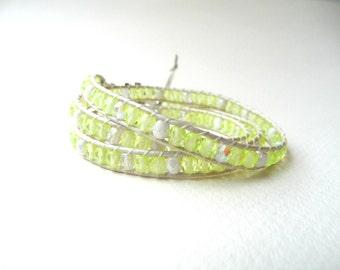 Wrap bracelet, leather wrap bracelet, triple wrap bracelet, jonquil yellow wrap bracelet, boho wrap bracelet