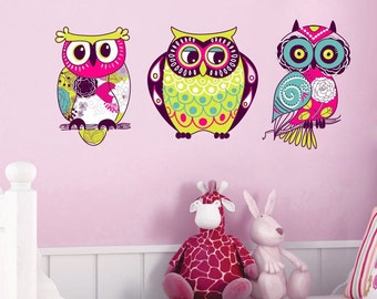 Owls Set of 3 Cute Wall Decal