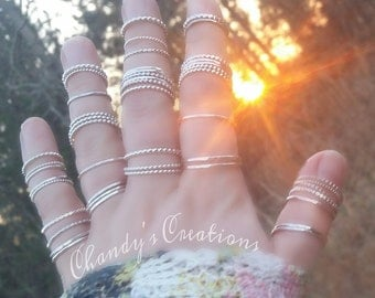 Sterling Silver Stackable Rings, Midi Rings, Layered Rings, Stackable Rings, Customized Rings, Hammered Spacer, Beaded Spacer, Stack Rings