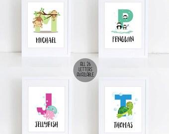 Animal Alphabet Printable, Alphabet Print, Nursery Wall Decor, Personalize Name Print, Baby Name Print, Animal Printable, Kids Room Decor