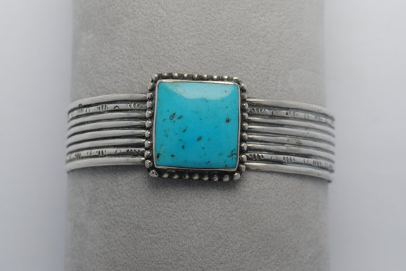 Native american turquoise cuff bracelet square shape