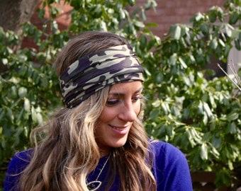 Army Browny Yoga Headband, Workout Headband, Jersey Headband, Army Headband, boho Hair band, Twist Headband, Twist Headwrap, headband