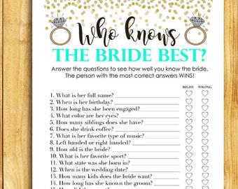 Bridal Shower Game Download - Who Knows the Bride Best - MINT and Gold - Shower Games Printable Instant Download - Glitter Confetti