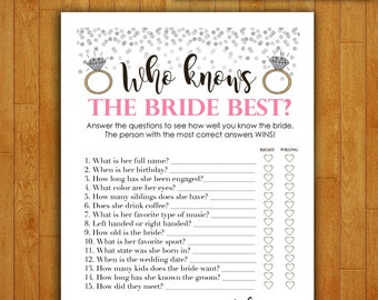 Bridal Shower Game Download - Who Knows the Bride Best - CORAL & SILVER - Instant Printable Digital Download - diy Bridal Shower Printables