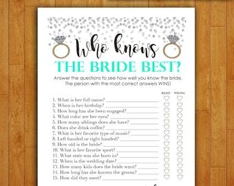 Bridal Shower Game Download - Who Knows the Bride Best - MINT & SILVER - Instant Printable Digital Seafoam - diy Bridal Shower Printables