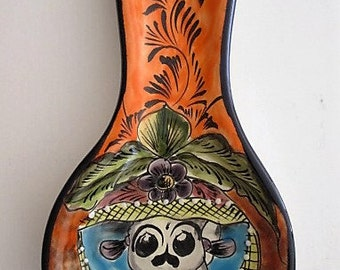 Talavera Spoon Rest, Day of the Dead Catrina, Mayolica -Mexican Pottery, LG Spoon Rest