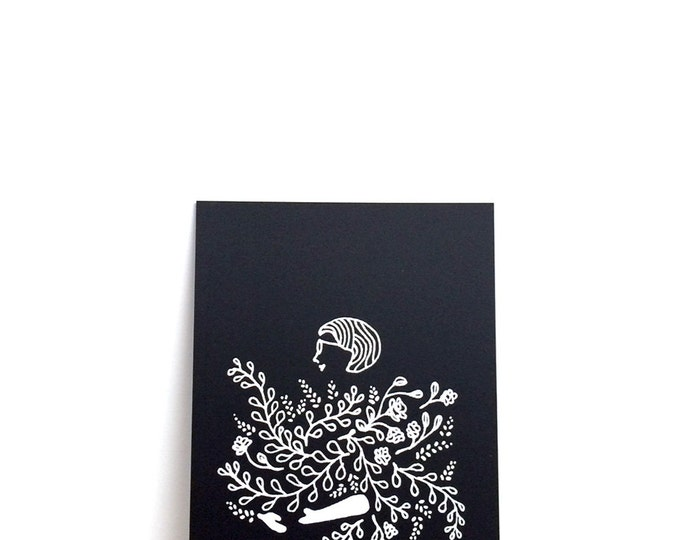 "Girl Holding Flowers Print (Phoebe) | 6"" x 8"" | Art Print, Digital Print, Black & White | Home Wall Decor"