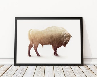 "Bison - Double Exposure - Modern Art Print - 8"" x 8"", 12"" x 12"", 12"" x 18"", 20"" x 30"""