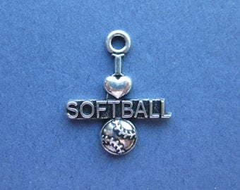 5 I Love Softball Charms - I Love Softball Pendants - Sports Charm - Softball Charm - Antique Silver - 18.5mm x 22mm  -- (No.17-10041)