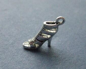 10 High Heel Shoe Charm- High Heel Shoe Pendant -  Shoe Charm - Shoe Pendant - Sandal - Antique Silver - 16mm x 14mm  --(No.81-11107)
