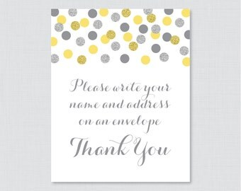 "Yellow and Silver Address an Envelope Sign - Printable Download - Glitter ""Please Write Your Name and Address on an Envelope"" Sign - 0001-Y"