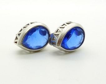 YSL Vintage Blue Crystal Clip On Earrings Small Teardrop Style Silver Tone Signed