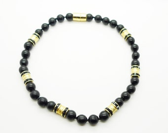 Vintage Black Bead and Gold Tone Choker Magnetic Clasp