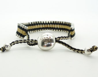 Links of London Friendship Bracelet Handwoven Silver 925  Brown Black Best Friends with Original Box