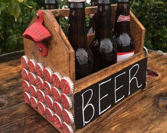 Budweiser Beer Bottle Holder with bottle opener,Valentines Gift,beer caddy, Husbands gift, Groomsmen gift, Wedding gift, Fathers day gift