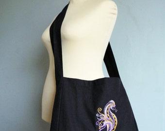 Custom Embroidered Seahorse Canvas Messenger Bag - Eco Friendly Reusable Bag