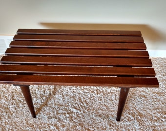 Mid Century Danish Modern Wood Slat Table