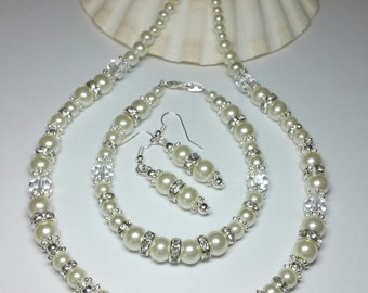 20% DISCOUNT SALE, Ivory Glass Pearl Rhinestone Wedding Jewellery, Brides Jewellery Set, Silver Handmade Costume Jewellery, Gift under 60