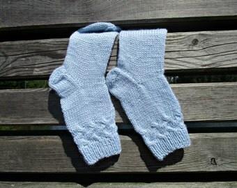 Wool socks Womens knit socks Handknit wool socks Hand Knit Socks Winter womens socks Blue knit socks Mom Gift for her mothers gift ideas