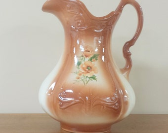 Ironstone Ceramic Water Pitcher ~ Poppies ~ Made in England ~ Terra Cotta Orange ~ Flower Vase