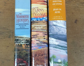 Jean M. Auel Book Bundle ~ Earths Children Series ~ Hardcover Book Set ~ Plains of Passage ~ Mammoth Hunters ~ Shelters of Stone