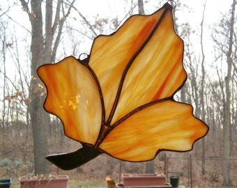 Orange and yellow fall leaf stained glass suncatcher