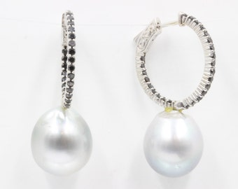 Grey South Sea Pearl and Black Diamonds Hoop Earrings