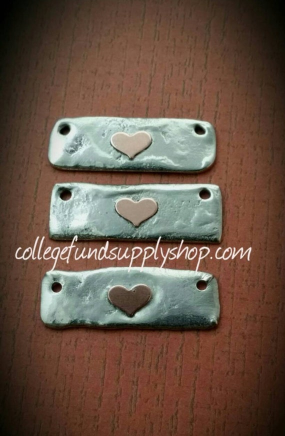 RUSTIC Pewter Bar with COPPER Heart accent, OOAK jewelry supply, copper heart, bar blanks for hand stamped necklace, one of a kind
