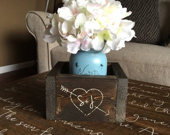 "Wedding Table Centerpiece, Rustic Wedding Centerpiece, Wedding Table Decor, Rustic Wedding Table Centerpiece -  ""Custom Planter Box"""