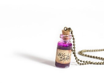 Draught of Living Death Potion Poison - Living Death Necklace - Sleeping Poison - Gothic Necklace - Potion Bottle - Mini Potion Necklace