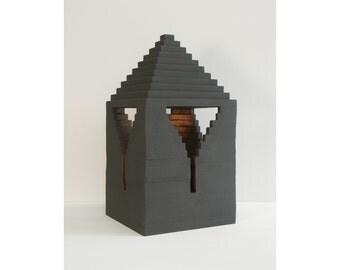 "Abstract sculpture ""Pyramidal Keyhole"", minimalist art, geometric sculpture, architecture, wood, black, tectonic, art decoration"