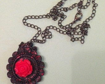 Kawaii Goth Pastel Goth Rose Cameo Necklace, Black and Red
