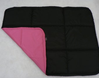 BLACK + PINK - Universal pad for dog, crate mat, traveling dog bed