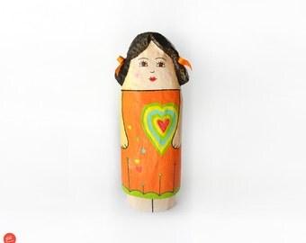 Papier mache girl figure,doll,orange dress,brown hair,recycled art,colorful heart,red heart,girls room decor,orange ribbon,art for girls