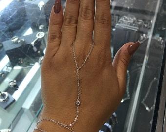Hand Chain Slave  Bracelet with cz stone.