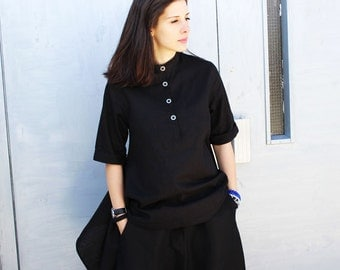 Black Linen Shirt / Asymmetric Summer Top / Casual Loose Shirt by Fraktura B0017