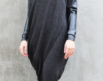 Grey Asymmetric Vest/Long Sleeves Top/ Oversize Loose Top with leather Sleeves/Asymmetric Overall Tunic /Knitted Vest/ V0013