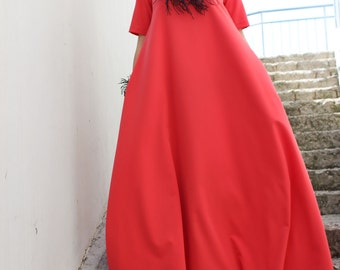Coral Maxi Dress, Caftan, Plus Size DRESS, Day Dress, Plus size maxi dress, Kaftan,Maternity Maxi Dress, Long dress by FRKT D0026