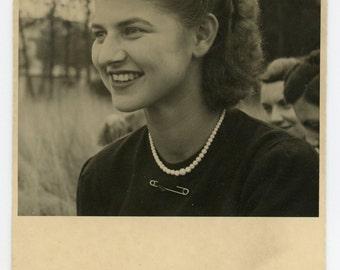 Portrait of a young lady - original 40s vintage photo- RPPC- real photo postcard- paper ephemera