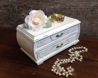 White Mirrored Jewelry Box, Shabby Rustic Chic Jewelry Cabinet, Cell Phone Charging Stand Cord Storage, Bridesmaid Gift, Gift For Her
