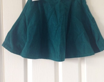 Vintage green corduroy circle skirt mini 80's grunge Small
