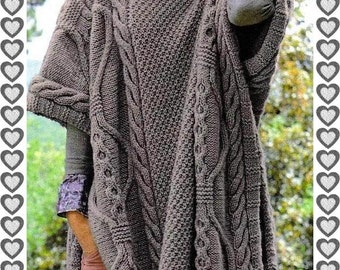 Knitting Pattern For Long Cape : Knit cape pattern Etsy