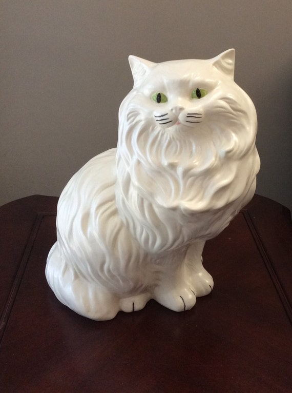 Large Vintage Ceramic Porcelain White Cat Green Eyes