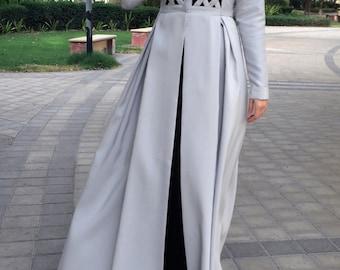 Criss-Cross Abaya Gown - Light Grey / Dubai Abaya / Abaya Light Gray / Plus Size Abaya / Hand-made Abaya / Occasion Abaya / Eid Abaya