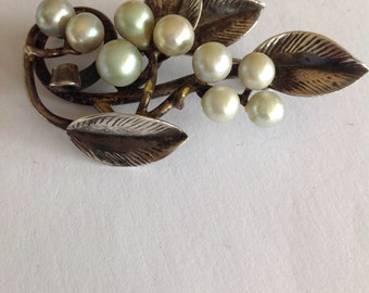 Vintage brooch/pin - Ming's Honolulu pearl and sterling silver - rare