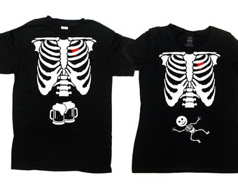 Halloween Pregnancy Shirt Baby Announcement T Shirt Couples Costumes Skeleton TShirt Gifts For Expecting Mothers New Dad Shirt - SA339-378