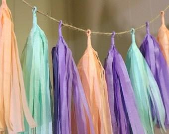 Mint Peach Lavender Tissue Paper Tassel Garland, Nursery Tassel Garland, Spring Tassel Garland