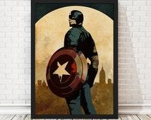 Vintage Captain America Poster, Retro Poster, Minimalist Poster, A3 Print (11.7x16,5 inches)