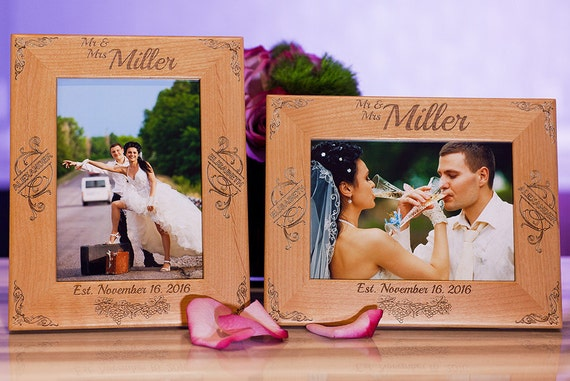 Wood Picture Frame, Personalized Couple Gift for 5x7 Pictures, Custom ...